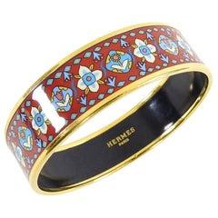 Hermes Red Floral and Gold Printed Enamel Wide Bangle Bracelet