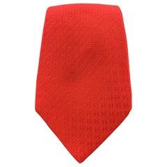 HERMES Red H Print Silk Tie