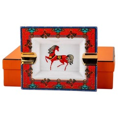 Hermes Red Horse Porcelain Ashtray with Box
