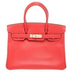 Hermes Red Leather Birkin 30cm Satchel Bag