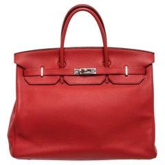 Hermes Red Leather Birkin 40cm Satchel Bag