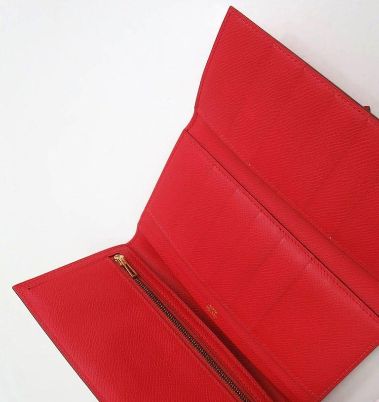 Women's Hermes Red Leather Epsom Leather Gold 'H' Bearn Wallet in Box