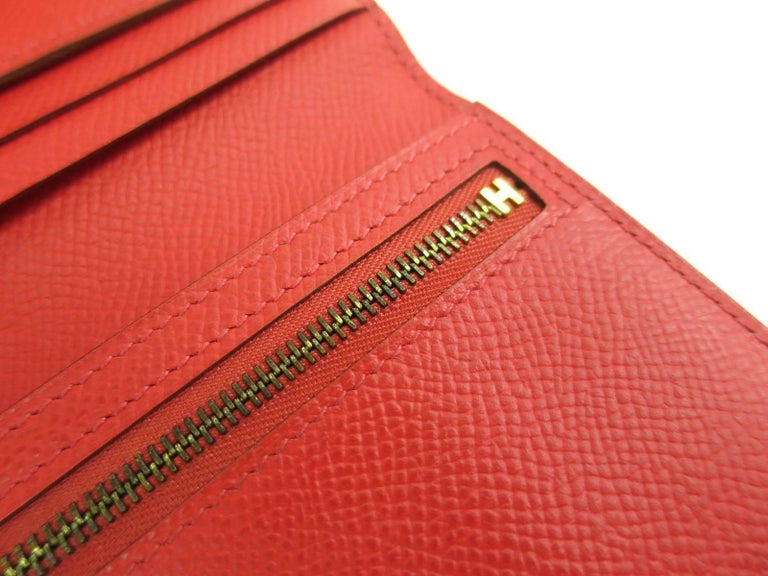Hermes Red Leather Epsom Leather Gold 'H' Bearn Wallet in Box 1