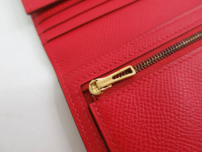 Hermes Red Leather Epsom Leather Gold 'H' Bearn Wallet in Box 2