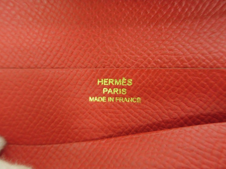 Hermes Red Leather Epsom Leather Gold 'H' Bearn Wallet in Box 4