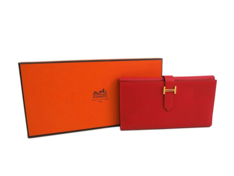 Hermes Red Leather Epsom Leather Gold 'H' Bearn Wallet in Box 5
