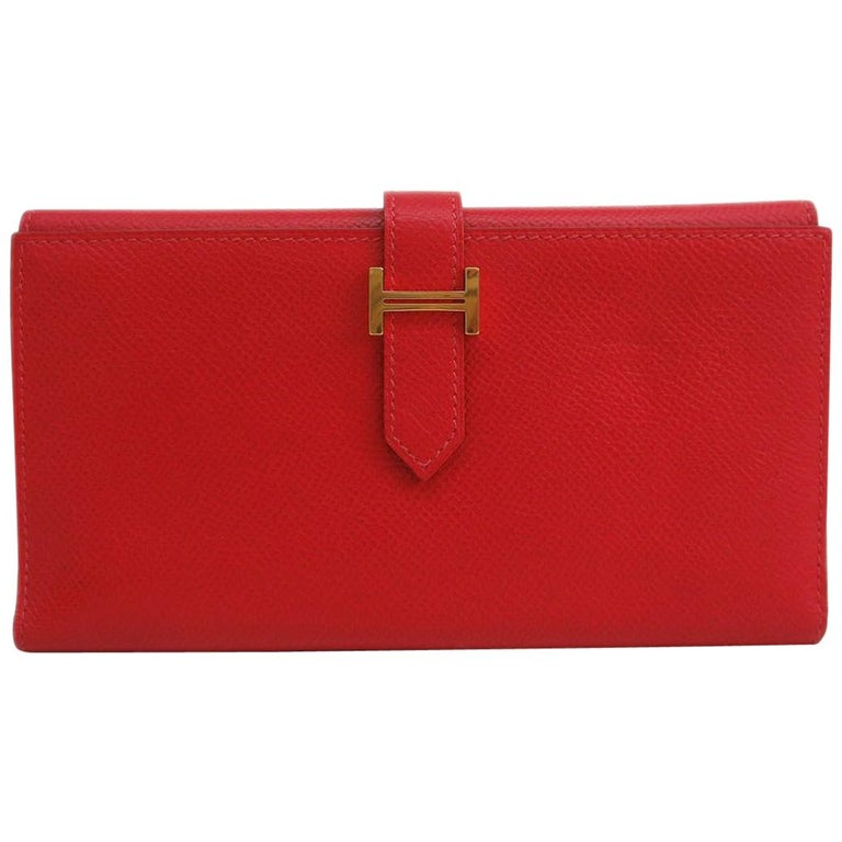 Hermes Red Leather Epsom Leather Gold 'H' Bearn Wallet in Box