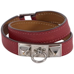 Hermes Red Leather Epsome Rivale Wrap Bracelet