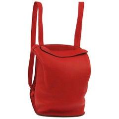 Hermes Red Leather Fabric Men's Women's Travel Carryall Backpack Bag
