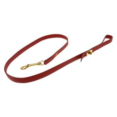 Hermes Red Leather Gold Buckle Animal Pet Dog Leash