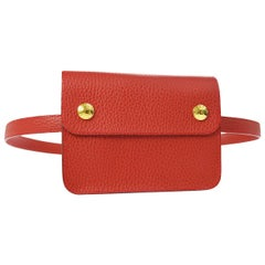 Hermes Red Leather Gold Fold Over Fanny Pack Flap Bum Waist Belt Bag in Box