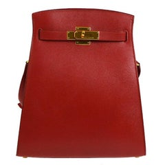 Hermes Red Leather Gold Hardware Travel Sport Single Shoulder Carryall Bag