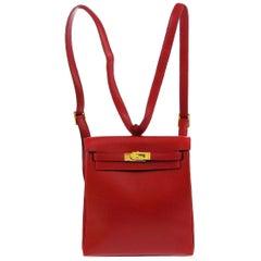 Hermes Red Leather Gold Men's Women's Travel Backpack Shoulder Bag