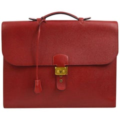 Hermes Red Leather Gold Top Handle Satchel Business Travel Briefcase Bag