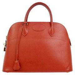 Hermes Red Leather Gold Top Handle Satchel Carryall Travel Shoulder Tote Bag
