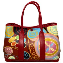 Hermes Red Leather Hand Painted Garden Party 30