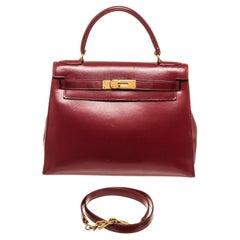 Hermes Red Leather Kelly Retourne 32cm Handbag