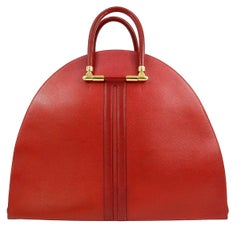 Hermes Red Leather Large Men's Women's Travel Carryall Top Handle Bowling Tote
