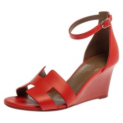 Hermes Red Leather Legend Ankle Strap Wedge Sandals Size 37