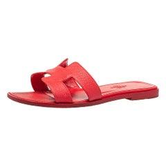 Hermes Red Leather Oran Flat Slides Size 35.5