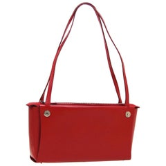 Hermes Red Leather Silver Carrryall Shoulder Top Handle Satchel Small Bag