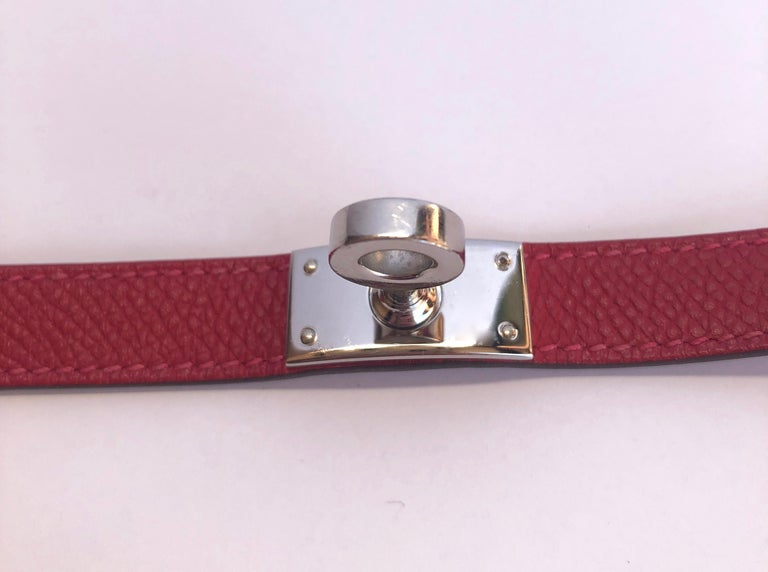 Hermes Red Leather & Silver Palladium Craie Epsom Kelly Double Tour Bracelet  For Sale 6