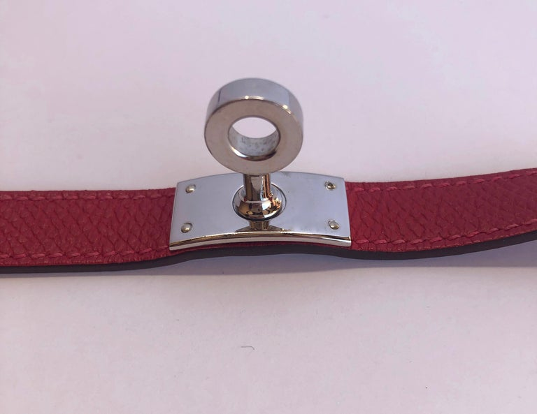 Hermes Red Leather & Silver Palladium Craie Epsom Kelly Double Tour Bracelet  For Sale 7
