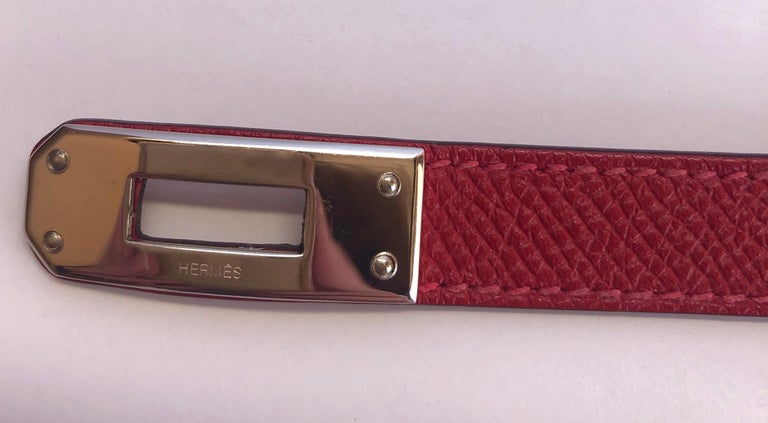 Hermes Red Leather & Silver Palladium Craie Epsom Kelly Double Tour Bracelet  For Sale 8