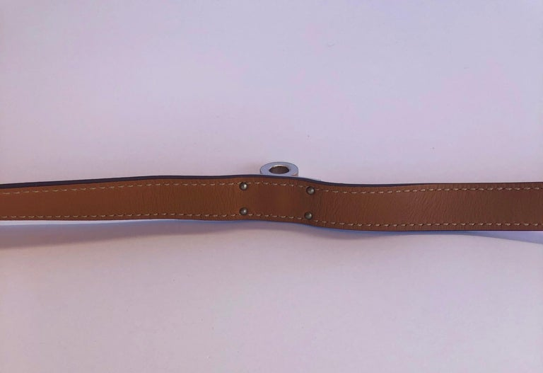 Hermes Red Leather & Silver Palladium Craie Epsom Kelly Double Tour Bracelet  For Sale 10