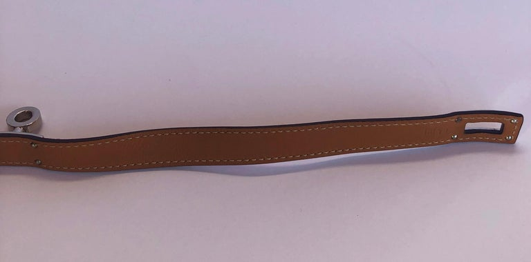 Hermes Red Leather & Silver Palladium Craie Epsom Kelly Double Tour Bracelet  For Sale 12