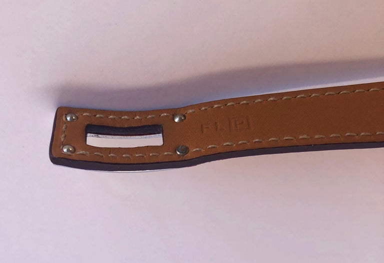 Hermes Red Leather & Silver Palladium Craie Epsom Kelly Double Tour Bracelet  For Sale 13