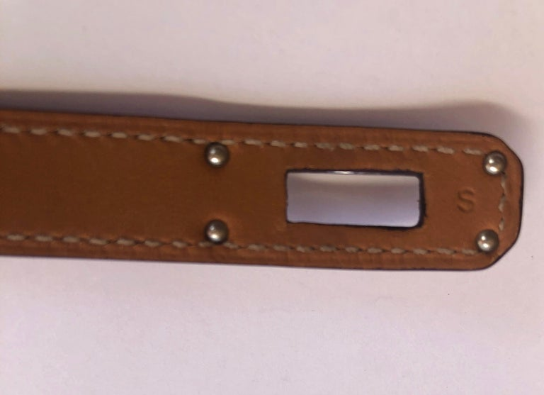 Hermes Red Leather & Silver Palladium Craie Epsom Kelly Double Tour Bracelet  For Sale 14