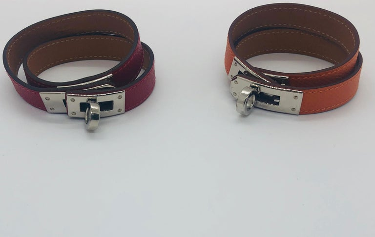Hermes Red Leather & Silver Palladium Craie Epsom Kelly Double Tour Bracelet  For Sale 15