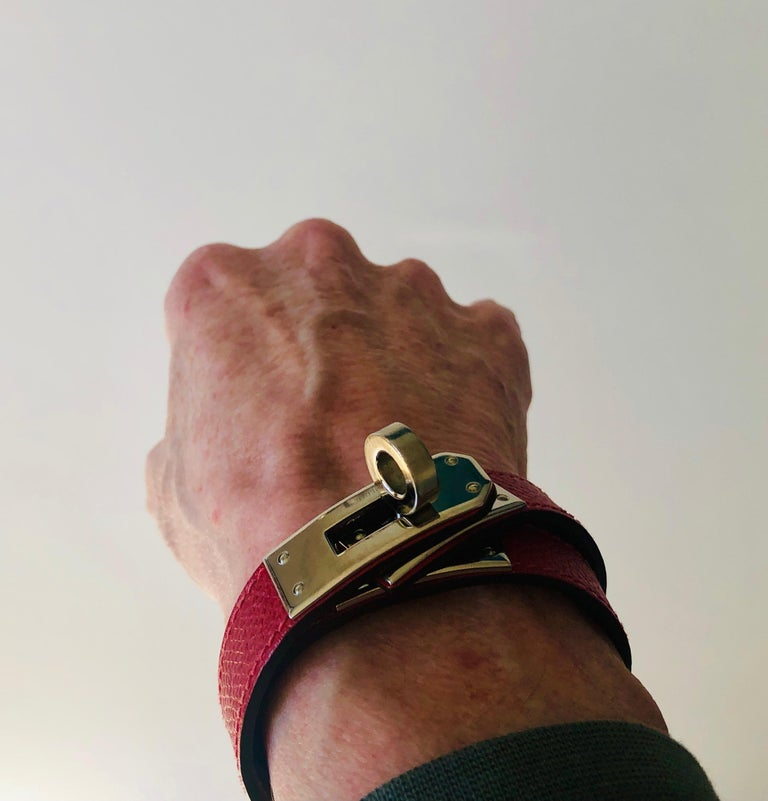 Hermes Red Leather & Silver Palladium Craie Epsom Kelly Double Tour Bracelet  For Sale 16