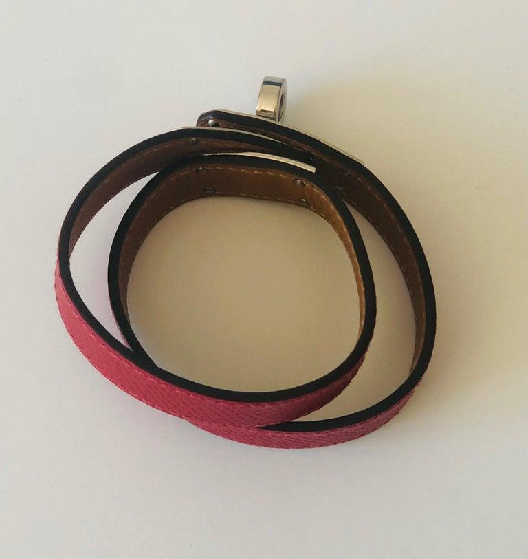 Women's or Men's Hermes Red Leather & Silver Palladium Craie Epsom Kelly Double Tour Bracelet  For Sale