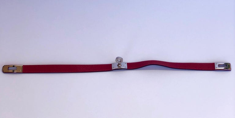 Hermes Red Leather & Silver Palladium Craie Epsom Kelly Double Tour Bracelet  For Sale 1