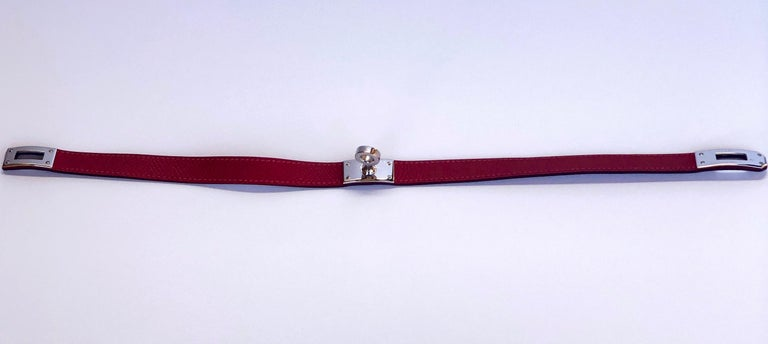 Hermes Red Leather & Silver Palladium Craie Epsom Kelly Double Tour Bracelet  For Sale 3