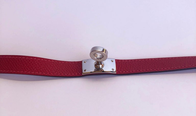Hermes Red Leather & Silver Palladium Craie Epsom Kelly Double Tour Bracelet  For Sale 4
