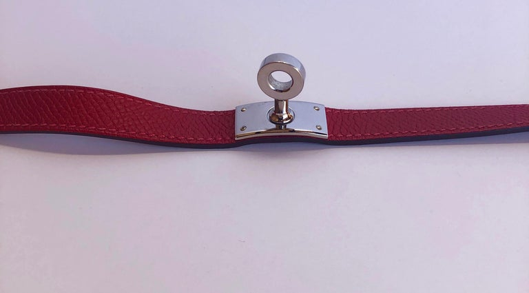 Hermes Red Leather & Silver Palladium Craie Epsom Kelly Double Tour Bracelet  For Sale 5