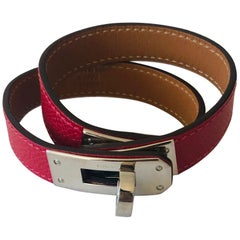 Hermes Red Leather & Silver Palladium Craie Epsom Kelly Double Tour Bracelet