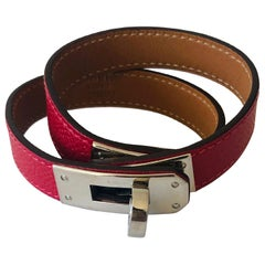 Hermes Red Leather & Silver Palladium Craie Epsom Kelly Double Tour Bracelet
