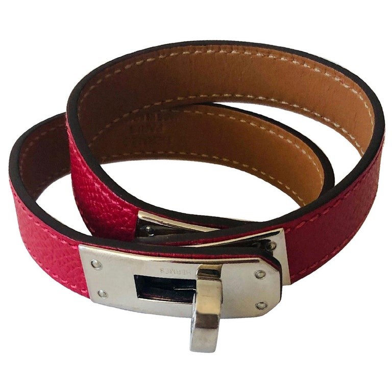 Hermes Red Leather & Silver Palladium Craie Epsom Kelly Double Tour Bracelet  For Sale