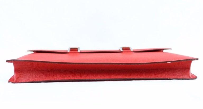 Women's or Men's Hermes Red Leather Silver Top Handle Satchel Men's Women's Briefcase Bag For Sale