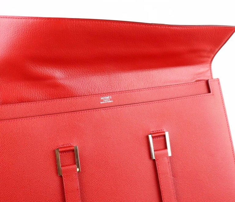 Hermes Red Leather Silver Top Handle Satchel Men's Women's Briefcase Bag For Sale 1