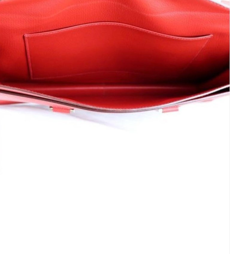 Hermes Red Leather Silver Top Handle Satchel Men's Women's Briefcase Bag For Sale 2