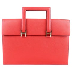 Hermes Red Leather Silver Top Handle Satchel Men's Women's Briefcase Bag