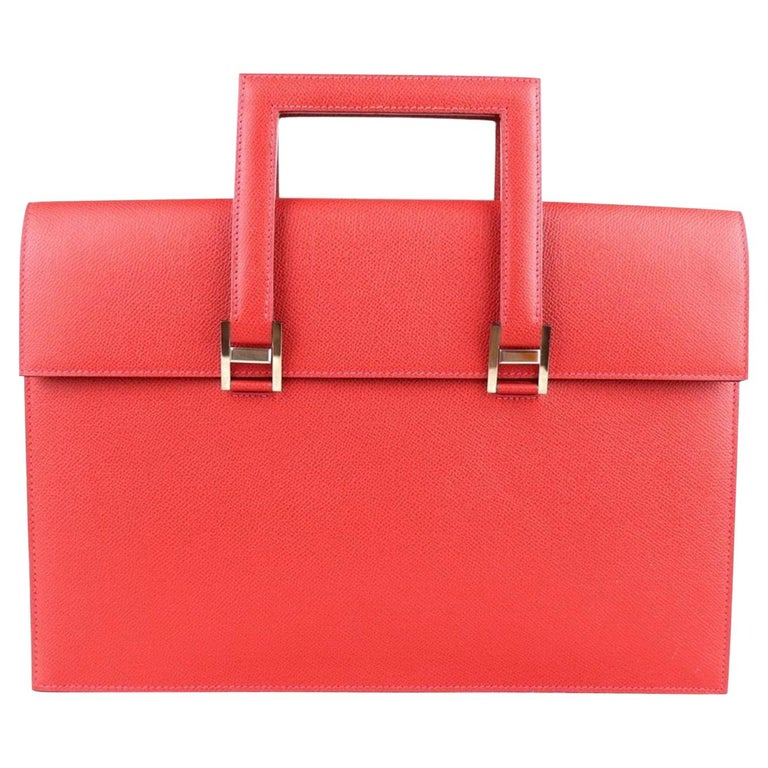 Hermes Red Leather Silver Top Handle Satchel Men's Women's Briefcase Bag For Sale