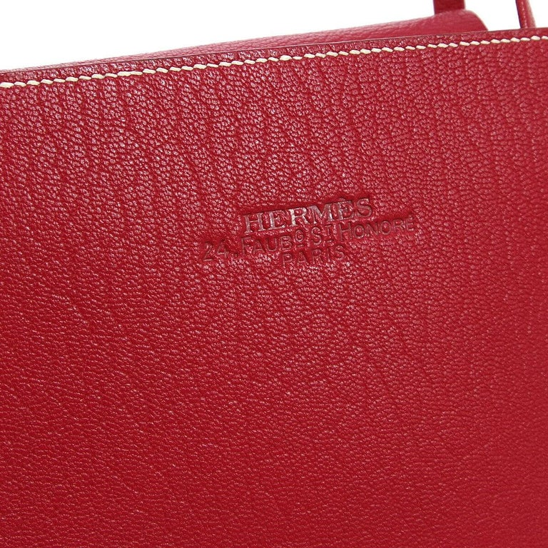 Hermes Red Leather Small Evening Top Handle Satchel Tote Bag in Box   Leather Leather lining Date code present Made in France Handle drop 4.25