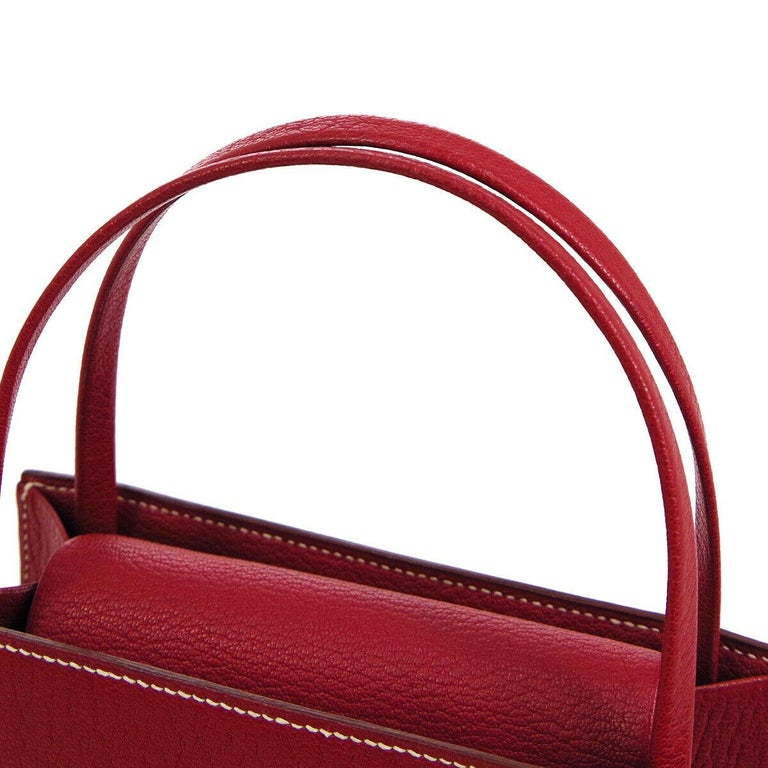Hermes Red Leather Small Evening Top Handle Satchel Tote Bag in Box  In Good Condition For Sale In Chicago, IL