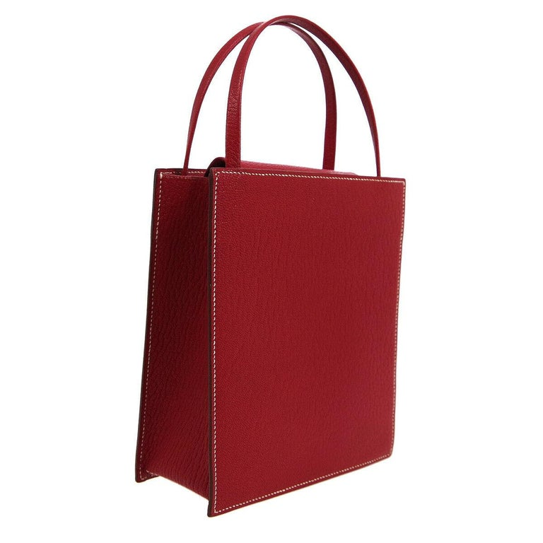 Women's Hermes Red Leather Small Evening Top Handle Satchel Tote Bag in Box  For Sale